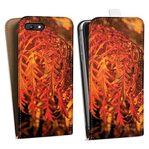 Apple iPhone X Silikon Hülle Case Schutzhülle Blätter Orange Herbst Downflip Tasche weiß