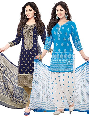 ishin Women\'s Synthetic Unstitched Salwar Suit With Dupatta Dress Material(Combodm-616_Multi-Coloured Free Size)