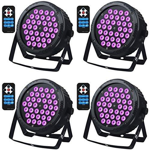 Black Light 36 Leds UV-Licht mit IR,Missyee Sound aktiviert und DMX Par Wall Wash-Beleuchtung für Home Stage Party Disco DJ Pub Tanzshow Weihnachten (4 Packs)