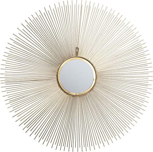 Kare Design Spiegel Sunbeam Ø90cm, runder Wandspiegel, Bad Spiegel, Schminkspiegel, Gold, (H/B/T) 90x90x4cm