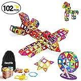 CosyVie Magnetic Toy Spiel Bausteine Magnetische und bunte Kit von 102 Stück Pädagogisches und kreatives Spielzeug Bestes Geschenk für Kinder ab 3 Jahren