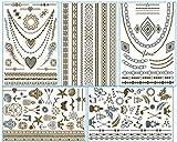ChicTats Brillantes tatuajes temporales de color metálico dorados y plateados - Arte corporal llamativo y joyería para mujeres y chicas – Maquillaje corporal/adhesivos/tatuajes de moda resistentes al agua – Pack de 5 hojas (luna)