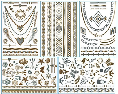 chictats-tatouages-ephemeres-metalliques-flash-or-argent-set-de-5-planches-body-art-bijoux-brillants