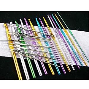 Höter Lot de 22 crochets de couleur et en aluminium de 1mm à 10mm Pour Tricot , livrés dans une pochette velvet