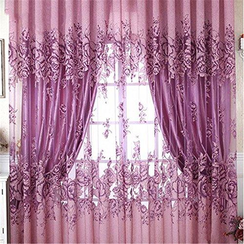 Display08,moderna e lussuosa tenda con stampa floreale, tessuto velato e leggero in stile tulle, poliestere, purple 1m by 2m, 1m by 2m