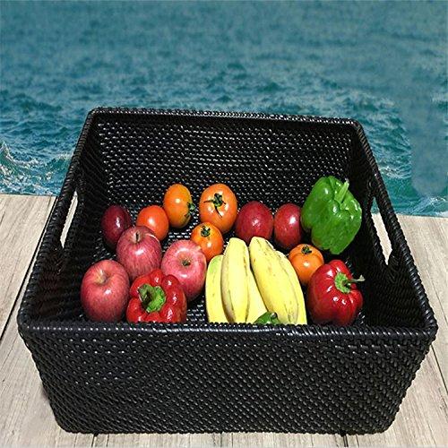 XBRles imitations de rotin de panier, le plastique des légumes, du pain panier panier panier de supermarchés, pp imitation de rotin, plaque de plastique, rectangle,black,rectangle 48x35x18cm