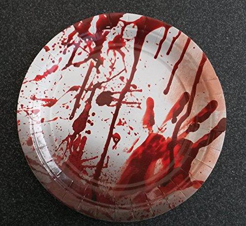Sachsen Versand 8 Papp-Papier-Einweg-Teller-Party-Geschirr-Tisch-Deko-Halloween Gruseln Scream Blut Halloween