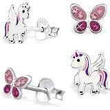 GH* KIDS, 2 paia di mini orecchini di cristallo a farfalla + Pegasus unicorno 925 in vero argento, orecchini per ragazza e ba