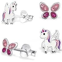 GH* KIDS, 2 paia di mini orecchini di cristallo a farfalla + Pegasus unicorno 925 in vero argento, orecchini per ragazza…