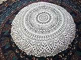Traditional Jaipur Silver Ombre Coussin de sol en mandala, Grand coussin décoratif 32 ', Pouf rond, Oreiller Boho, Housse de coussin indienne (Taie d'oreiller)