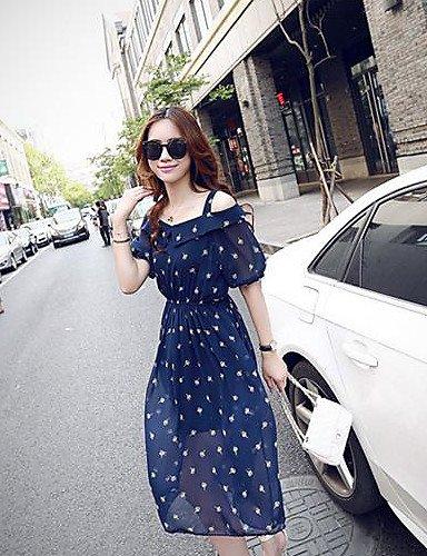 LYQ/ Robe Aux femmes Grandes Tailles Grandes Tailles / Sexy / Vintage / Soirée / Décontracté / Plage / Mignon Col Arrondi MidiMousseline de blue-2xl