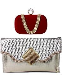 Kleio Combo Of Designer Party Velvet Clutch & Stone Studded Sling Clutch - B01LYMFC8S