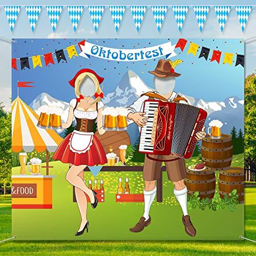 Oktoberfest Party Dekorationen Oktoberfest Foto Tür Banner Hintergrund Requisiten, Große Stoff Foto Tür Banner für Oktoberfest Party Dekorationen, Lustige Oktoberfest Spiel Lieferungen, 5 x 4,3 Fuß
