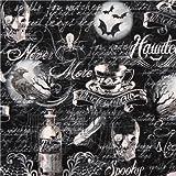 Schwarzer Gothic Halloween Totenkopf Stoff Timeless