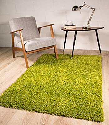 Vibrant Green Soft Luxury Shaggy Rug 5 Sizes Available produced by The Rug House - quick delivery from UK.