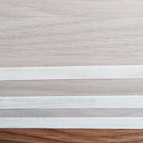 1er-Pack Raffrollo mit Schlaufen Gardinen Voile Transparent Vorhang (BxH 140x155cm, weiß) - 3