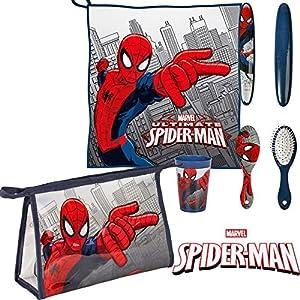 Spiderman Set neceser para niño de 5piezas, estuche escolar, toalla, escobilla, soporte para cepillo de dientes, vaso by Valery