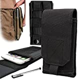 "Genial-ES® Funda Móvil MOLLE Táctico Riñonera Smartphone Bolsa con Hebilla Lanzamiento Rápido para Teléfono 4,7"" iPhone6 5,5"" iPhone6 Plus Galaxy Note 4 Blackberry 8300 HTC One Max Negro"