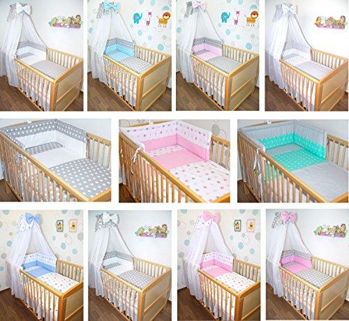 5-6 tlg Baby Bettset mit Chiffonhimmel Bettwäsche Nestchen Sterne Drops