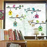 WandSticker4U- Familia pájaro en una rama de flores | Pajarera pájaros flores Casita | pared pegatinas adhesivo para salón do