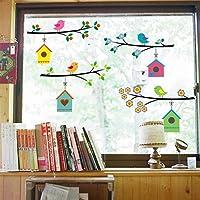 WandSticker4U®- stickers muraux enfants famille d'oiseaux (branches d'arbre: 4x75 cm) I fleurs printemps animaux…
