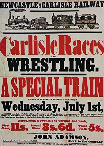 Vintage Travel Newcastle and Carlisle Railway für die Pferderennen und Wrestling C1840250gsm, Hochglanz, A3, vervielfältigtes Poster Carlisle Bus