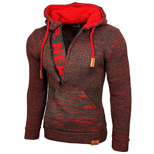 Rusty Neal Top Herren Winter Kapuzenpullover Pulli Sweatshirt Jacke RN-13277, Größe:M, Farbe:Anthrazit/Rot