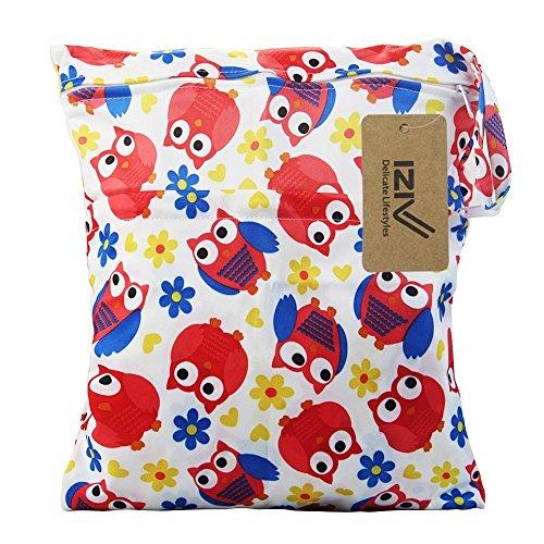 iZiv(TM) Wasserdichtes Baby Wiederverwendbare Nass und Trocken Windel Beutel Organisator Beutel 2 Reißverschluss Printing Wickeltasche(Eule)