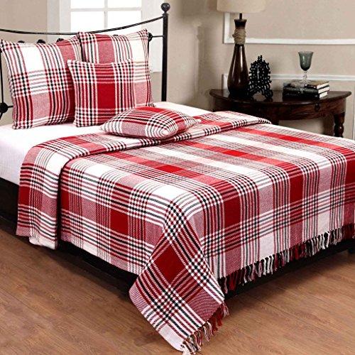 Homescapes Klassischer Sofaüberwurf XL Plaid rot weiß Tartan Schottenmuster 225 x 255 cm