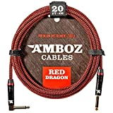 Red Dragon Guitar Cable - Sturdy and Ultra Flexible Instrument Cable For Electric