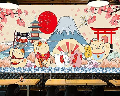 ADDFLOWER Papel tapiz personalizado Fondo de estilo japonés Fujiyama Mural de dibujos animados Comida japonesa Restaurante de sushi Fondo de paredes 3D, 250X175 Cm (98.4 Por 68.9 In)