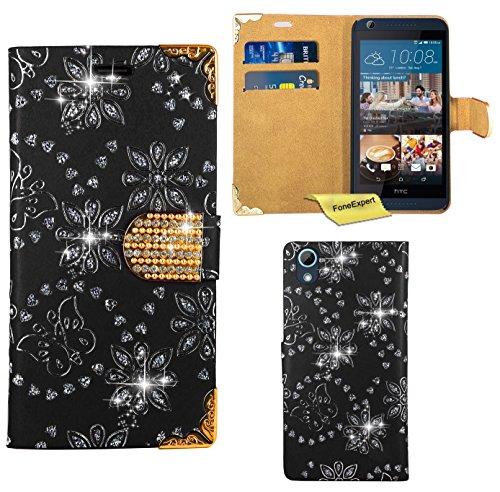 Preisvergleich Produktbild HTC Desire 626 626G Handy Tasche, FoneExpert® Bling Luxus Diamant Hülle Wallet Case Cover Hüllen Etui Ledertasche Premium Lederhülle Schutzhülle für HTC Desire 626 626G (Schwarz)