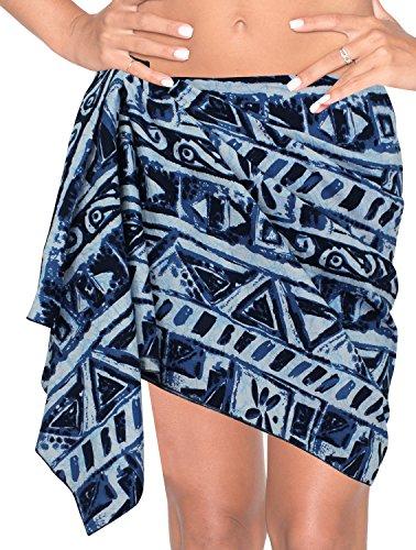 La Leela 100% delle donne simboli cotone handpaint geo bikini sarong 78x21 pollici blu
