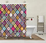 LB Mandala Blumendekor Duschvorhang Wasserdichtes Mildewproof Polyester Badvorhänge für Badezimmer,180 * 180cm mit 12 Ringen