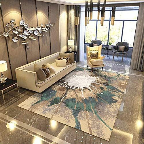 Rechteck Home Designer Rug Zeitgenössische Wohnzimmer Teppich Moderne Grenze in Blau Beige Verschiedene Größen Teppich Unschlagbare Deal (120X160 cm) (Farbe : B, größe : 140 * 200CM) -