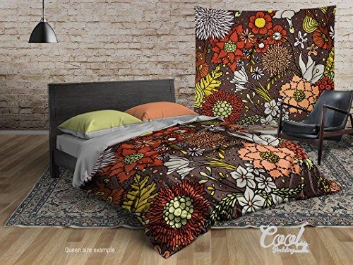 Cool beddings Otoño bohemio funda de edredón, 4piezas Juego de cama de otoño bohochic, Boho ropa de cama, Queen, completo, 2...