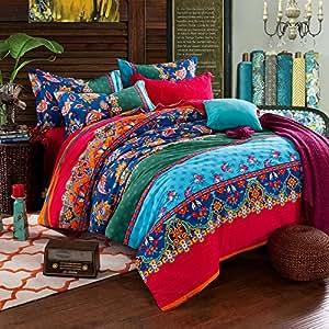 fadfay colorful boh me housse de couette queen king size boho exotique parure de lit coton 2. Black Bedroom Furniture Sets. Home Design Ideas