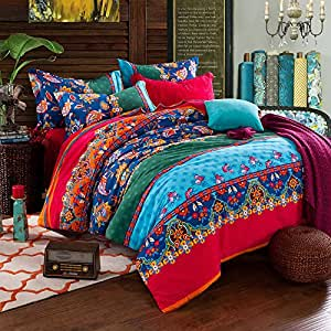 fadfay colorful boh me housse de couette queen king size. Black Bedroom Furniture Sets. Home Design Ideas