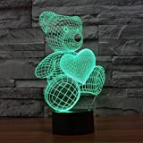 #8: Naveed Arts - Valentine Gift Online - 3D illusion LED lamp - Teddy with IR Remote and USB cable - 7 colour changing for Decoration / Gift - TL019 - Factory Outlet