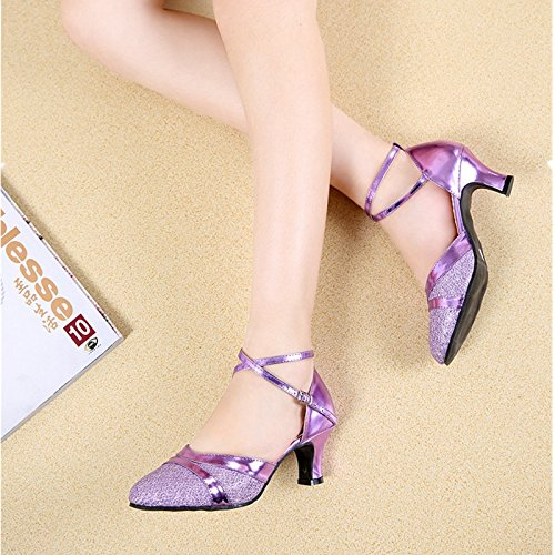 XPY&DGX Latino scarpe da ballo nel tacco alto piazza per adulti scarpe da ballo donna viola di grandi dimensioni, scarpe da ballo e danza moderna scarpe, 3 230MM
