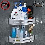Gricol Badezimmerablage Duschregal Ablage nagelfrei Keine Beschädigung, patentierter Kleber + 3M-klebend, Aluminiumfläche, rostfrei Korb für Küchen- und Badezimmerzubehör, 2 Stück