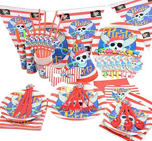 Halloween Essgeschirr, Outgeek 90 Stück Wegwerf Piraten Papier Platten Gabeln Messer Servietten Strohhalme Set (Platten Halloween Papier)
