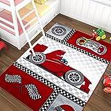 Kinderteppich Kinderzimmer Carpet Auto Car Racer 3 Größen & 2 Farben TOP Preis, Größe:120x170 cm, Farbe:Rot