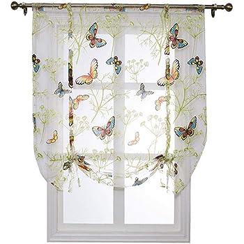 FOONEE Short Finestra Tende, Farfalla Floreale Semi-Sheer Roman Tende, per Cucina, Camera da Letto, casa, caffè, Negozio Decorazione, 60 * 140cm