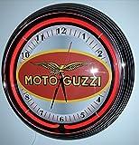 NEONUHR NEON CLOCK MOTO GUZZI SIGN GARAGE WANDUHR BELEUCHTET MIT ROTEN NEON RING