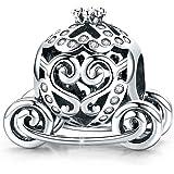 Charm a forma di carrozza di Cenerentola, in argento Sterling 925, per braccialetti di marca originali, idea regalo per donne
