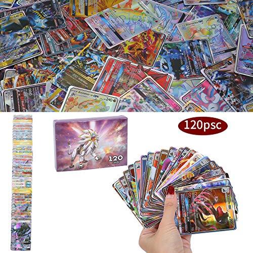 120Pcs Jeu de Cartes Pokemon Cartes, Carte de Pokemon Amusant pour Enfants, Cartes à Collectionner, 109 GX+11 Trainer Cartes