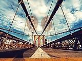 Artland Qualitätsbilder I Wandbilder Selbstklebende Wandfolie 120 x 90 cm Architektur Brücken Foto Bunt B7TE Brooklyn Bridge New York