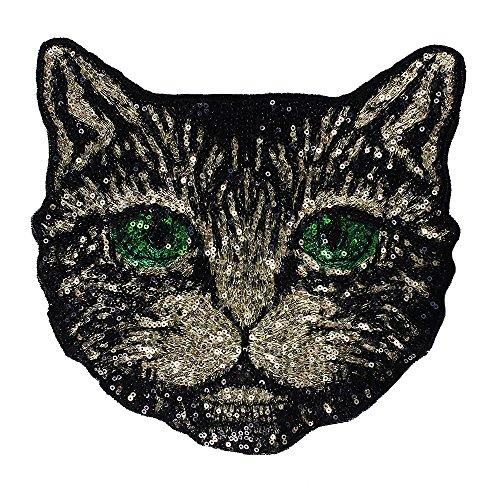 1x Perlen Pailletten Katze Stoff Patches Sew auf Strass Applikation Abzeichen geprägt Kleidung verziert Craft Nähen Supplies