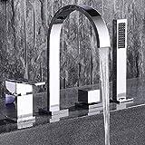 MangeooModerne Chrom 4 Loch Bad römische Badewanne Armatur Mischbatterie mit Handdusche 2 Griffe